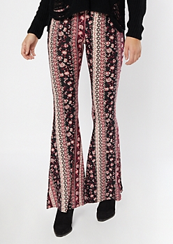 Black Floral Striped Super Soft Flare Pants