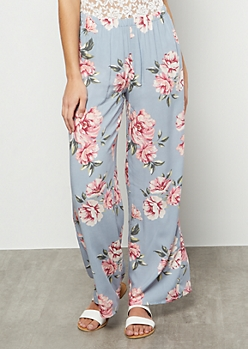 Light Blue Floral Print High Waisted Palazzo Pants