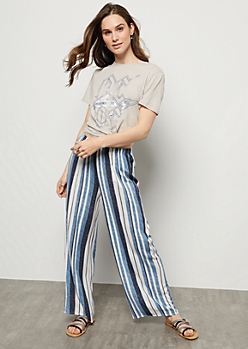 Blue Striped High Waisted Palazzo Pants