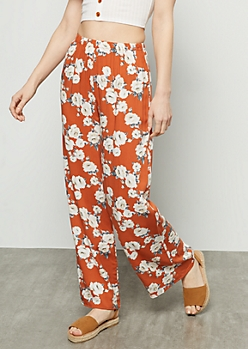 Burnt Orange Floral Print High Waisted Palazzo Pants