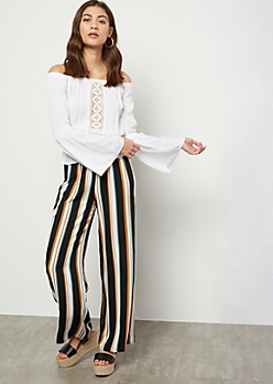 Black Striped High Waisted Palazzo Pants
