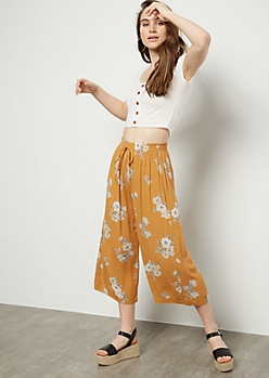 Mustard Floral Print High Waisted Gaucho Pants