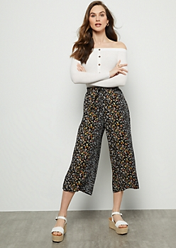 Black Floral Print High Waisted Gaucho Pants