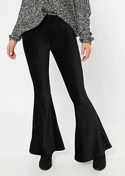 Black Super Soft Corduroy Flare Pants