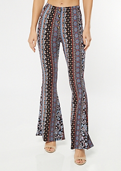 Black Paisley Print Super Soft Flare Pants