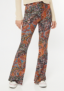 Burnt Orange Paisley Print Super Soft Flare Pants