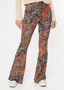 Burnt Orange Paisley Print Super Soft Flare Pants