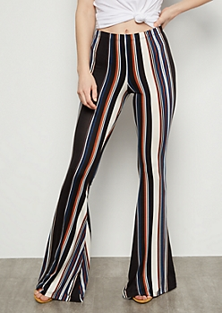 Blue Striped Super Soft Mid Rise Flare Pants