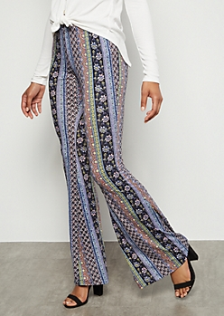 Periwinkle Border Print Super Soft Mid Rise Flare Pants
