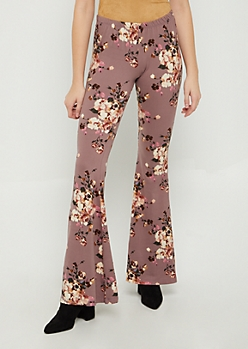 Lavender Floral Flared Soft Pants
