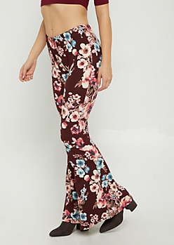 Burgundy Floral Flared Soft Pants