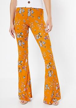 Mustard Floral Print Super Soft Flare Pants