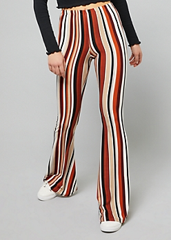 Tan Striped High Waisted Super Soft Flare Pants