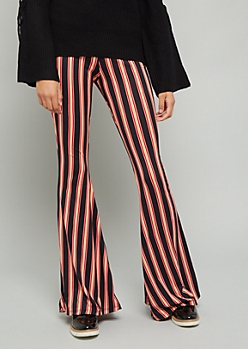 Black Striped High Waisted Super Soft Flare Pants
