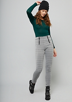 Gray Glen Plaid Print Zippered Ponte Pants