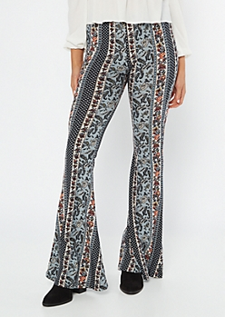 Blue Striped Paisley Print Super Soft Flare Pants