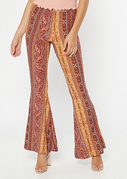 Mauve Border Print Super Soft Flare Pants