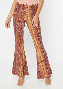 Mauve Border Print Super Soft Flare Pants