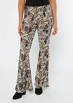 Snakeskin Print Super Soft Flare Pants