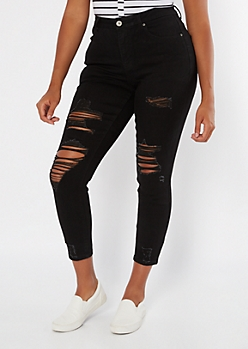 Black Distressed Curvy Ankle Jeggings