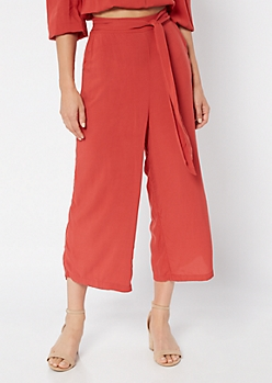 Burnt Orange High Waisted Wide Leg Gauchos
