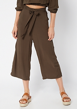 Olive High Waisted Wide Leg Gauchos