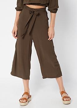 11690de3b4 Olive High Waisted Wide Leg Gauchos