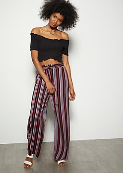 Black Striped Tie Waist Palazzo Pants