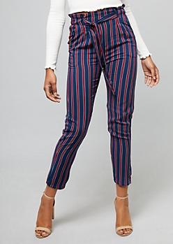 Navy Striped Paperbag Waist Slim Pants