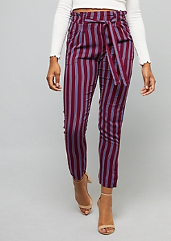 Burgundy Striped Paperbag Waist Slim Pants