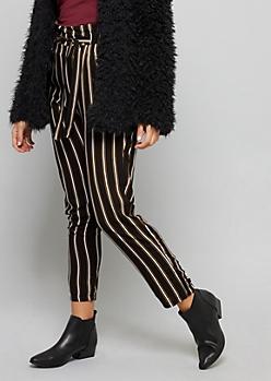 Black Striped Paperbag Waist Slim Pants