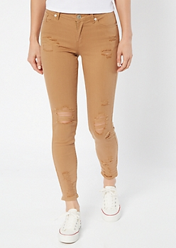 Khaki Distressed Ankle Jeggings