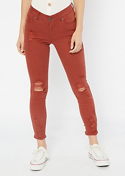 Burnt Orange Distressed Ankle Jeggings