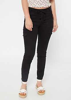 Black Cargo Drawstring Skinny Jeans
