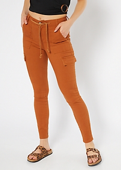 Burnt Orange Cargo Drawstring Skinny Jeans