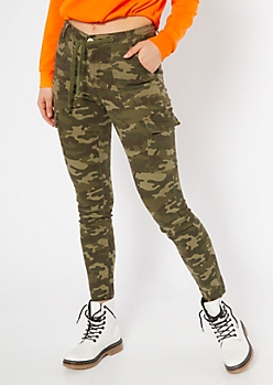 Camo Print Cargo Drawstring Skinny Jeans