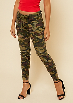 Camo Distressed Drawstring Waist Moto Skinny Pants