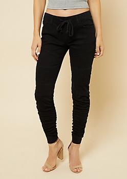 Black Twill Drawstring Waist Moto Skinny Pants