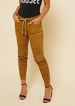 Camel Twill Drawstring Waist Zipper Moto Skinny Pants