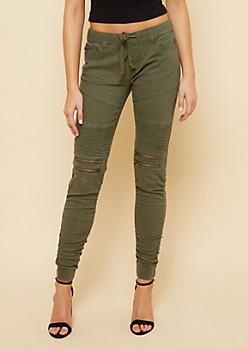 Olive Twill Drawstring Waist Zipper Moto Skinny Pants