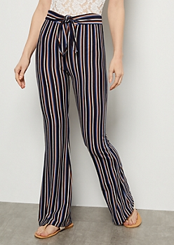 Navy Striped Ribbed Knit High Waisted Flare Pants
