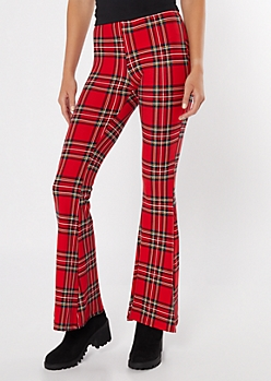 Red Plaid Print Super Soft Flare Pants