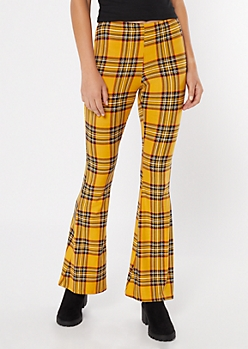Yellow Plaid Print Super Soft Flare Pants
