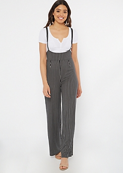 Black Striped Pinafore Jumpsuit