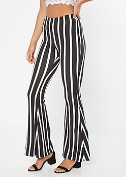 Black Striped Super Soft Flare Pants