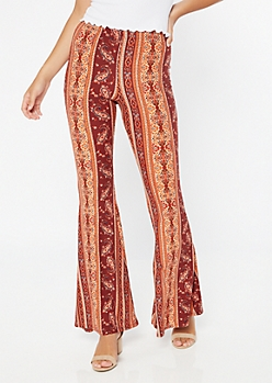 Burgundy Paisley Print Super Soft Flare Pants