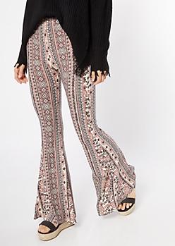 Pink Striped Border Print Super Soft Flare Pants