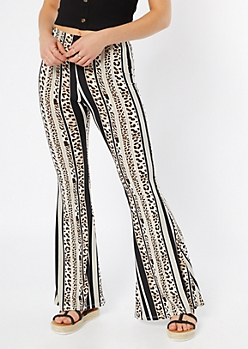 6aab426732 Black Striped Leopard Print Super Soft Flare Pants