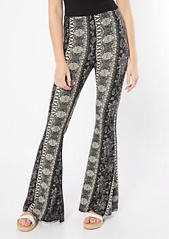 Black Paisley Print Super Soft Flare Pants