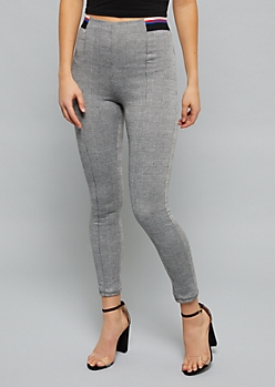 Houndstooth Plaid High Waisted Ponte Pants